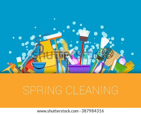 Spring cleaning background. Set of cleaning supplies. Tools of housecleaning composition. Vector - stock vector