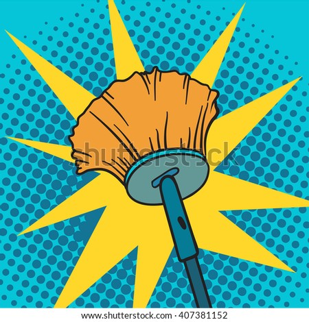 Spring cleaning broom pop art background vector illustration. Spring cleaning broom and house spring cleaning broom. Housekeeping spring cleaning broom pop art background. Housework cleaner broom. - stock vector