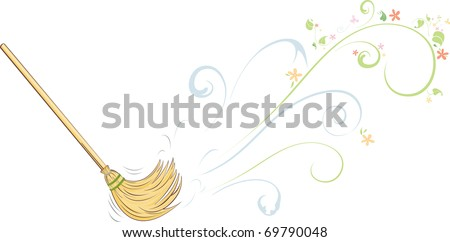 Spring cleaning - broom sweeping - stock vector