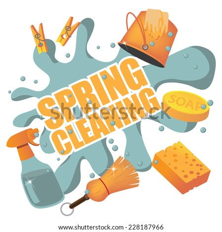 Spring Cleaning splash. EPS 10 vector, grouped for easy editing. No open shapes or paths. - stock vector