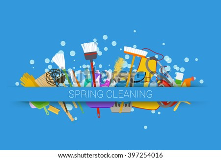 spring cleaning supplies blue background with soap bubbles. vector illustration