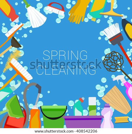 Spring cleaning supplies frame. Tools of housecleaning background. Vector - stock vector