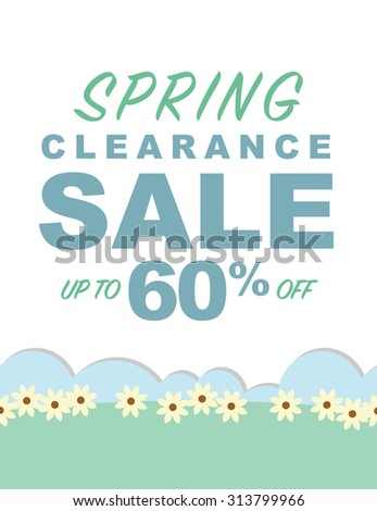 Spring clearance sale up to 60% off poster - stock vector