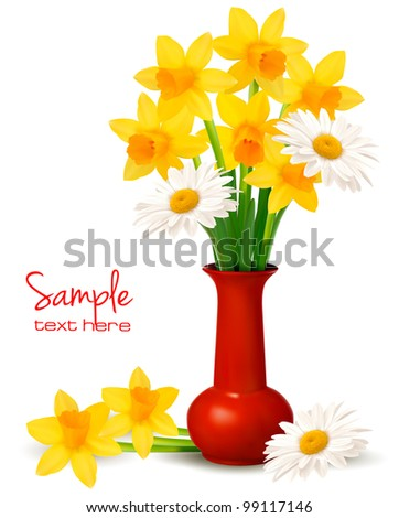 Spring colorful flowers in a vase.  Vector. - stock vector