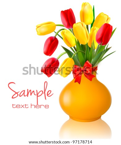 Spring colorful flowers in a vase with a red bow  Easter vector background - stock vector
