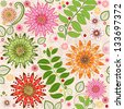 Spring colorful seamless floral pattern with vivid flowers (vector) - stock vector