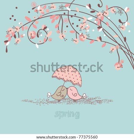 spring composition with cute birds - stock vector