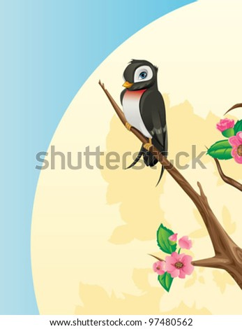 Spring Concept - Swallow bird on a cherry tree branch - stock vector