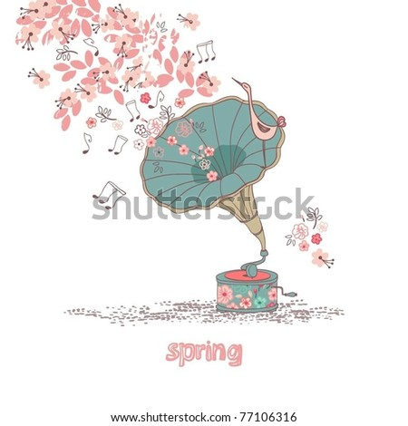 spring concept with gramophone - stock vector