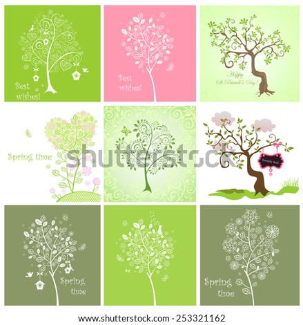 Spring decorative trees - stock vector