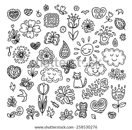 Spring doodles set. Hand draw flowers, sun, clouds, butterflies. Season of the blossom, illustration, cute background. - stock vector
