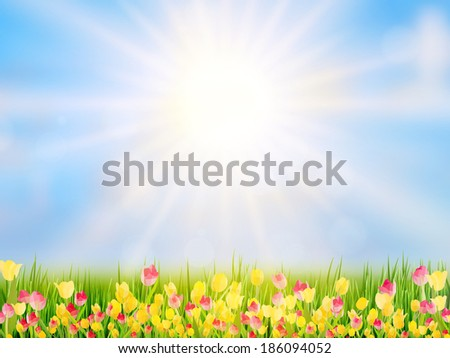 Spring Easter background with beautiful yellow tulips. And also includes EPS 10 vector - stock vector
