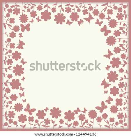 Spring editable template for greeting card or label / banner - with floral elements, shapes of flowers and various butterflies - stock vector