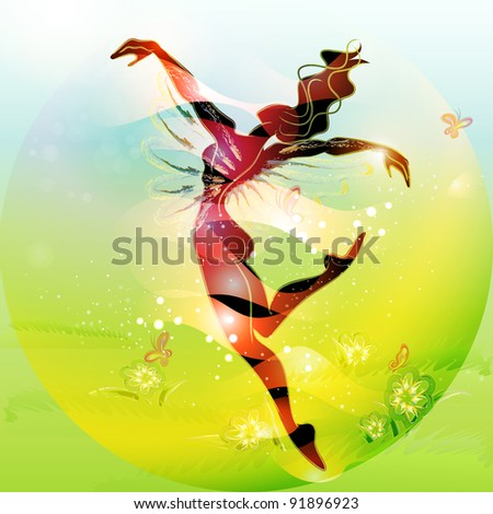 Spring Fairy Tale (young woman dan?ing in spring time) - stock vector