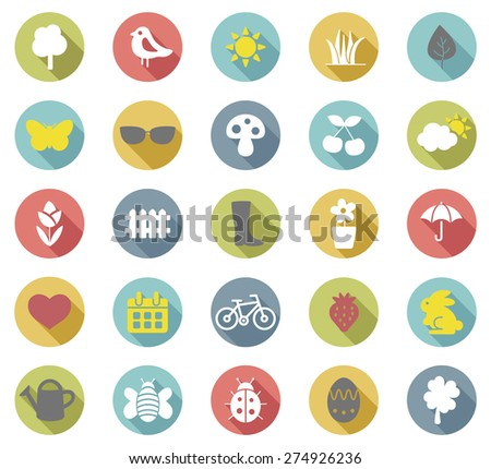 Spring flat  icons set.Vector - stock vector
