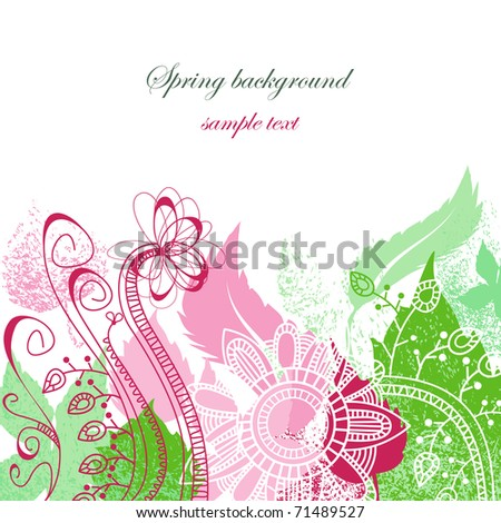 Spring floral background in pink and green - stock vector