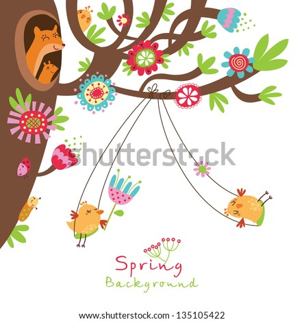 Spring floral background with birds - stock vector