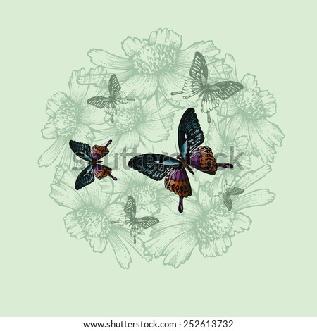 Spring floral background with butterflies, hand-drawing. Vector illustration. - stock vector