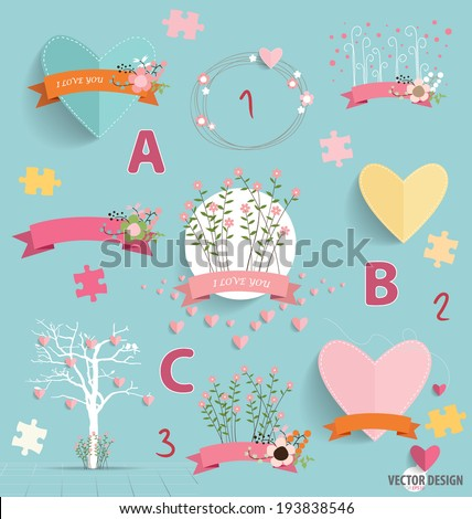 Spring floral background with cute floral bouquets, heart, tree, and ribbon. Vector illustration. - stock vector