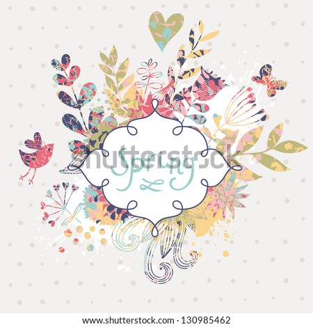 Spring floral design element. Birds, flowers and butterflies in cute floral background in vector. Romantic card - stock vector