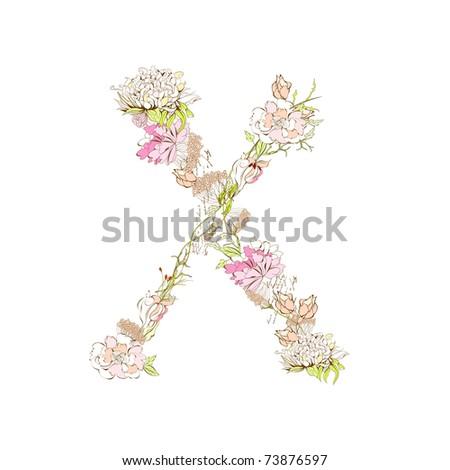 Spring floral font, Letter X - stock vector