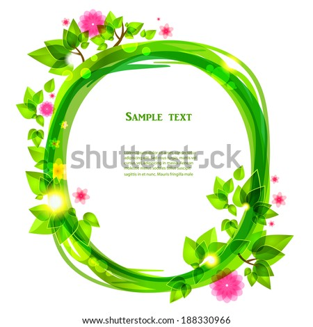 Spring floral frame with place for text - stock vector