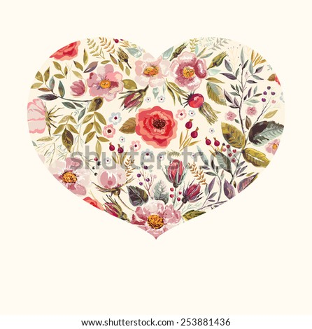 Spring floral greeting card with heart - stock vector