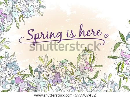 Spring floral invitation design vector drawn stock vector 597707432 spring floral invitation design vector drawn lily flowers stopboris Choice Image