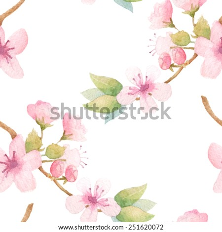 Spring floral pattern with blossom tree branches. Vector watercolor - stock vector