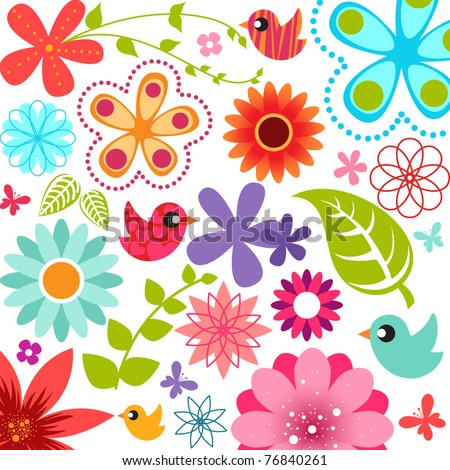 Spring flower background - stock vector