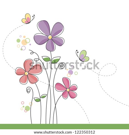 Spring flower background with butterflies - stock vector