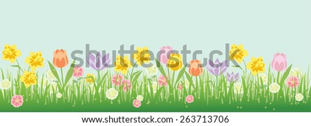 Spring flower border with popular instagram look. Blue sky can be easily enlarged for use in ads, posters, or flyers. Vector illustration.