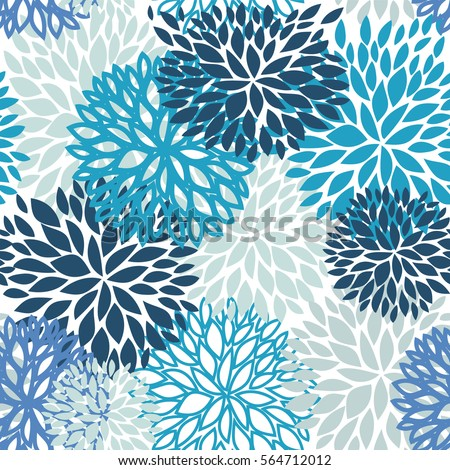 Spring Flower Seamless Pattern Blue And Navy Chrysanthemum Flowers Background For Web Print