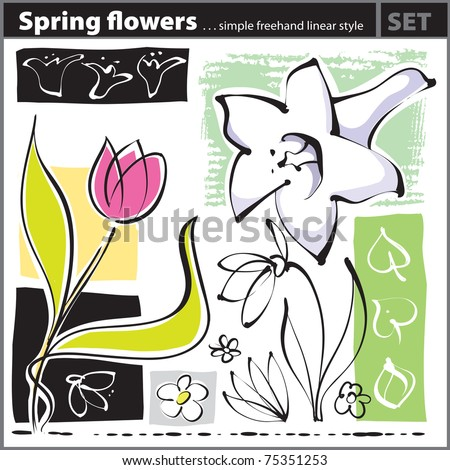 Spring Flower set (freehand drawing style) - stock vector