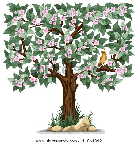 Spring flowering tree with bird isolated on white background - stock vector