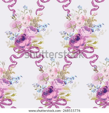 Spring Flowers Backgrounds - Seamless Floral Shabby Chic Pattern - in vector - stock vector