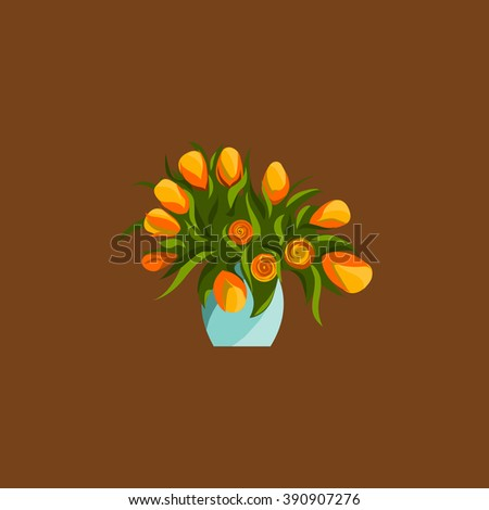 Spring flowers in vase, bouquet vector flat icons. - stock vector
