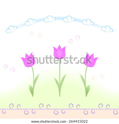 Spring flowers repeating pattern - stock vector