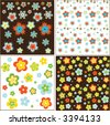 spring flowers retro patterns - stock vector