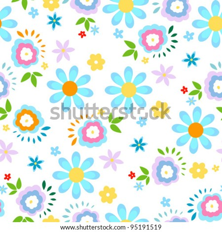 spring flowers seamless background - stock vector