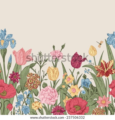 Spring flowers. Seamless floral border. Colorful poppies, iris, tulips, carnations, primroses, daffodils on a beige background. Garden bed. Vintage vector illustration. - stock vector
