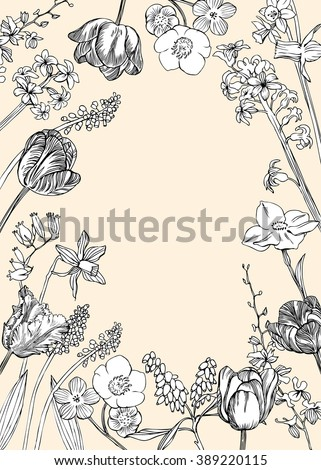 Spring Flowers Sketch Background Floral Design With Tulips And Other Vector Vintage