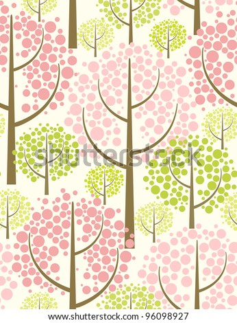 Spring forest. Seamless pattern in green. - stock vector