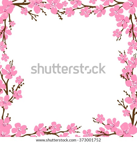 Spring frame with cherry blossoms. Place for text.