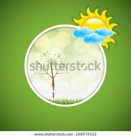 Spring frame with clouds and sun - stock vector