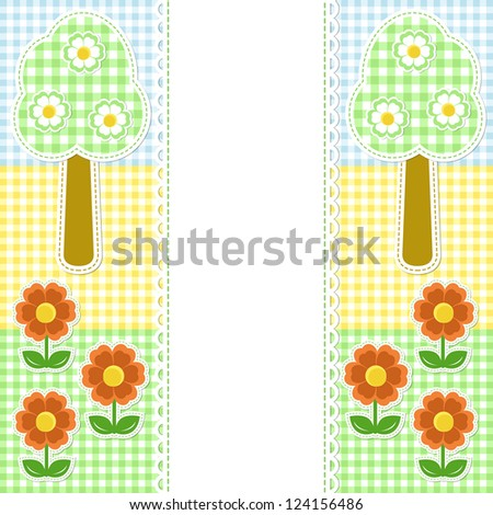 Spring frame with flowers on textile background - stock vector