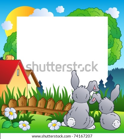 Spring frame with two rabbits - vector illustration.