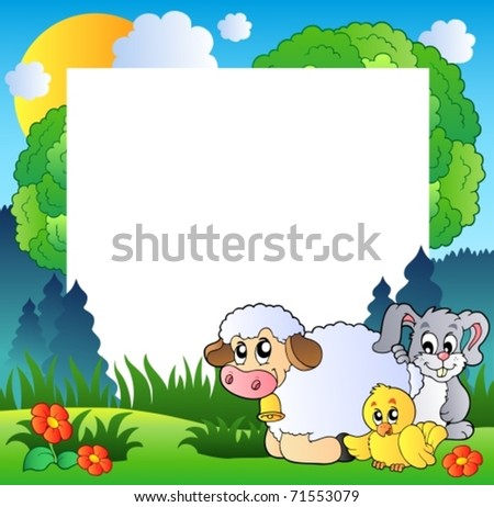 Spring frame with various animals - vector illustration.