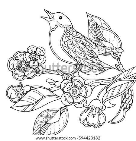 spring garden composition in doodle style a bird sings on a bloom branch ornate - Spring Garden Coloring Pages