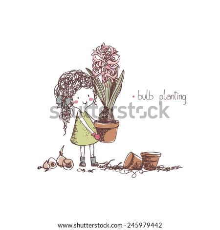 spring gardening, bulb planting - stock vector